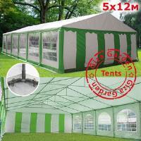 Шатер Giza Garden 5 x12м зелено белый PRO (высота стенок 2.4м./в коньке: 3.8м)
