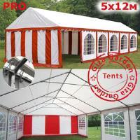 Шатер Giza Garden 5 x12м красно белый PRO (высота стенок 2.4м./в коньке: 3.8м)
