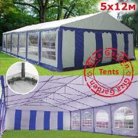 Шатер Giza Garden 5 x12м сине белый PRO (высота стенок 2.4м./в коньке: 3.8м)