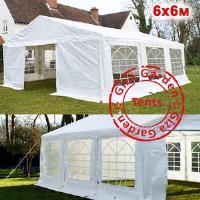 Шатер Giza Garden 6 x6м белый (высота стенок 2.6м./в коньке: 3.1м)