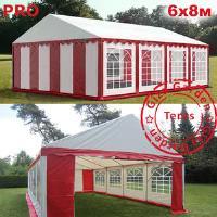 Шатер Giza Garden 6 x8м красно белый PRO (высота стенок 2.4м./в коньке: 3.7м)