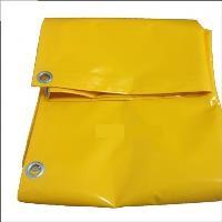 Тент с люверсами ПВХ 4*6м плотность 650г/м2 Двухсторонний (желтый)