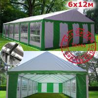 Шатер Giza Garden 6 x12м зелено белый PRO (высота стенок 2.4м./в коньке: 3.7м)