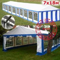 Шатер павильон Giza Garden 7 x18м сине белый PRO (высота стенок 2.4м./в коньке: 3.8м)