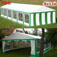 Шатер павильон Giza Garden 8 x12м зелено белый PRO (высота стенок 2м./в коньке: 3.2м)