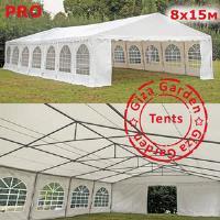 Шатер павильон Giza Garden 8 x15м белый PRO (высота стенок 2.4м./в коньке: 4.2м)