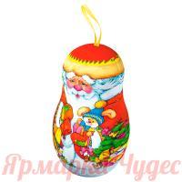Подарок новогодний сладкий Дед Мороз 150 гр конфет в жестяной фигурке на Ёлку + мастер-класс ЕРАЛАШ