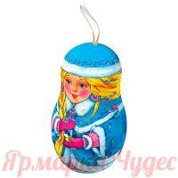 Подарок новогодний сладкий Снегурочка 150гр конфет в жестяной фигурке на Ёлку + мастер-класс ЕРАЛАШ