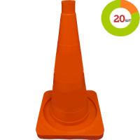 Конус дорожный КС-2.2 52см упругий БЕЗ ПОЛОС / Упаковка 20 ШТ. квадратное основание