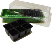 Мини-парник с кассетами для рассады 12 ячеек (2 вставки), форма квадрат (155 мл) (Зеленый)