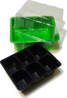 Мини-парник с кассетами для рассады 6 ячейки (1 вставка), форма квадрат (155 мл) (Зеленый)