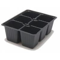 Кассета рассадная 6 ячеек малая 175*135*65 мм, форма квадрат (155 мл) (Черный), 10шт