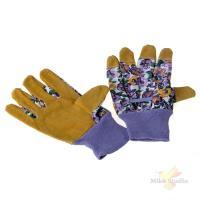 Перчатки садовые кожа+хлопок с манжетой Paterra, размер М