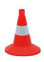 Конус дорожный сигнальный 320мм оранжевый с 1 белой полосой