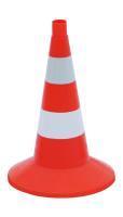 Конус дорожный сигнальный 520мм оранжевый с 2 белыми полосами