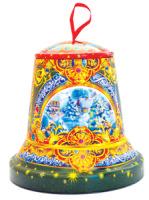 Подарочный набор сладкий Колокол 600 гр конфет в жестяной игрушке + мастер-класс ЕРАЛАШ